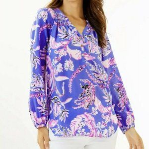 NWT Lilly Pulitzer Elsa Silk Top, Wild Within
